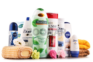 Composition with assorted global body care and beauty brands