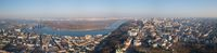 Panorama of Kiev, District Podol and the left bank, the Dnieper River on an April sunny day, Ukraine