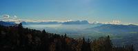 Panoramaausblick vom Pfänder ins Rheintal