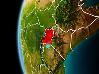 Uganda from space in evening