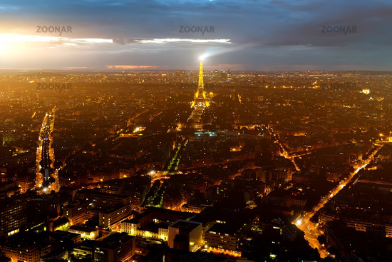 Eiffel tower aerial view