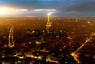 Eiffel tower aerial view