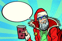 Hipster Santa Claus with coffee says