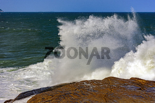Rock and seawater spray