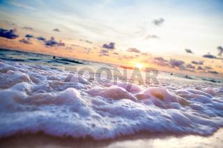 Sunset beach.Seashore and sunlight scenic