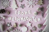 Flat Lay, Frohe Weihnachten Means Merry Christmas, Frame