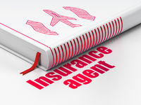 Insurance concept: book Airplane And Palm, Insurance Agent on white background