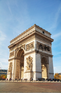 The Arc de Triomphe de l'Etoile in Paris, France