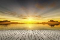 sunset wooden jetty