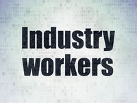 Industry concept: Industry Workers on Digital Data Paper background