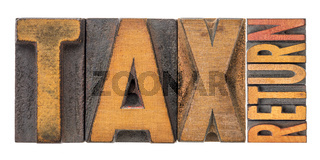 tax return banner in wood type