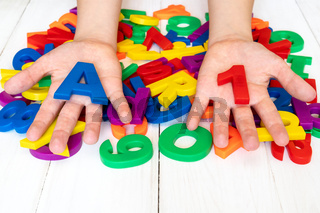 Learning using magnetic letters and numbers