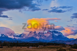 Incredible sunset in the park Torres del Paine