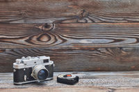 Vintage old retro 35mm rangefinder camera and light meter