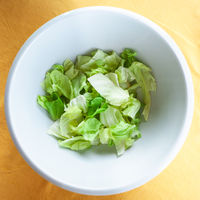 top view of portion of green lettuce in bowl