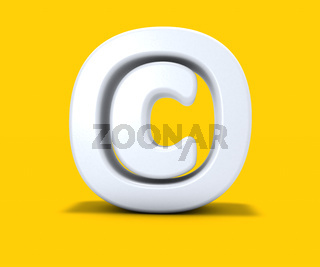 copyright symbol auf gelbem hintergrund - 3d rendering