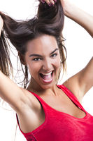 Woman grabbing her hair