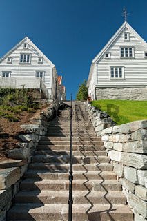 Typical houses and stairs in Stavanger, Norway
