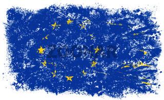 Europäische Flagge in Auflösung