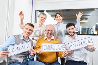 Sprechblasen Kooperation Teambuilding Kollegen