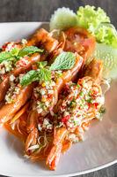 Tiger prawn spicy salad,