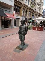 Fussgängerzone Oviedo, Spain, Skulptur von Woody Allen