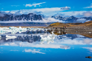The volcanic mountains and glaciers