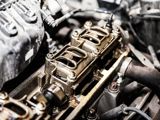 Vehicle motor or auto car engine at automobile repairing service