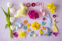 Flat Lay With Easter Decoration Like Flowers And Bunnies
