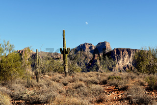 Day Moon Superstition Mountains