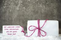 White Gift, Snow, Label, Gutes Neues Means Happy New Year