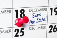 Wall calendar with a red pin - December 18
