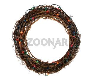 Twig Christmas Wreath with Lights