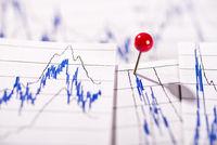 Diagramme mit Aktienkursen und Pinnadel