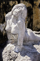 Statue of naked Woman, Historic Town, St Pierre, Martinique, West Indies