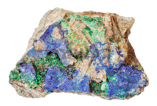 blue Azurite and green Malachite at stone isolated