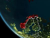 Satellite view of Norway at night