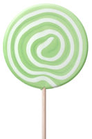 Round lollipop with green and white swirls