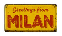 Vintage metal sign on a white background - Greetings from Milan