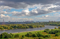 Moscow cityscape with river and park