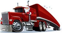 Cartoon retro Christmas truck