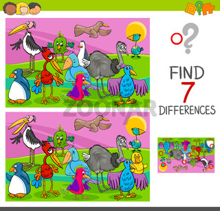 spot differences game with birds characters
