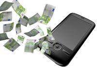 Mobiltelefon mit Euroscheinen