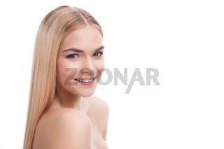 beauty face of blonde teenager girl isolated on white background