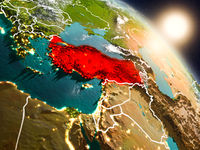 Turkey from space during sunrise