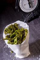 Vegan kale chips with sea salt