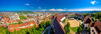 Colorful Ljubljana aerial panoramic view