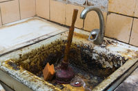 old clogged a sink in the rust