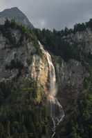 Waterfall in the Bernese Oberland. Oltschibachfall.