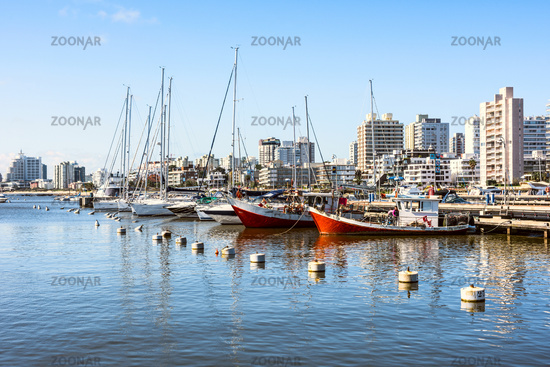 Classic Red Fishing Boats moored in front of the yachts of the rich people in Punta del Este harbor, Uruguay